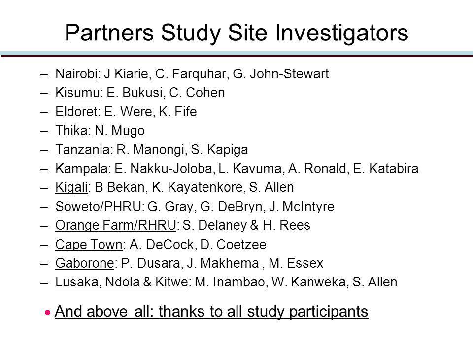 Partners Study Site Investigators –Nairobi: J Kiarie, C.