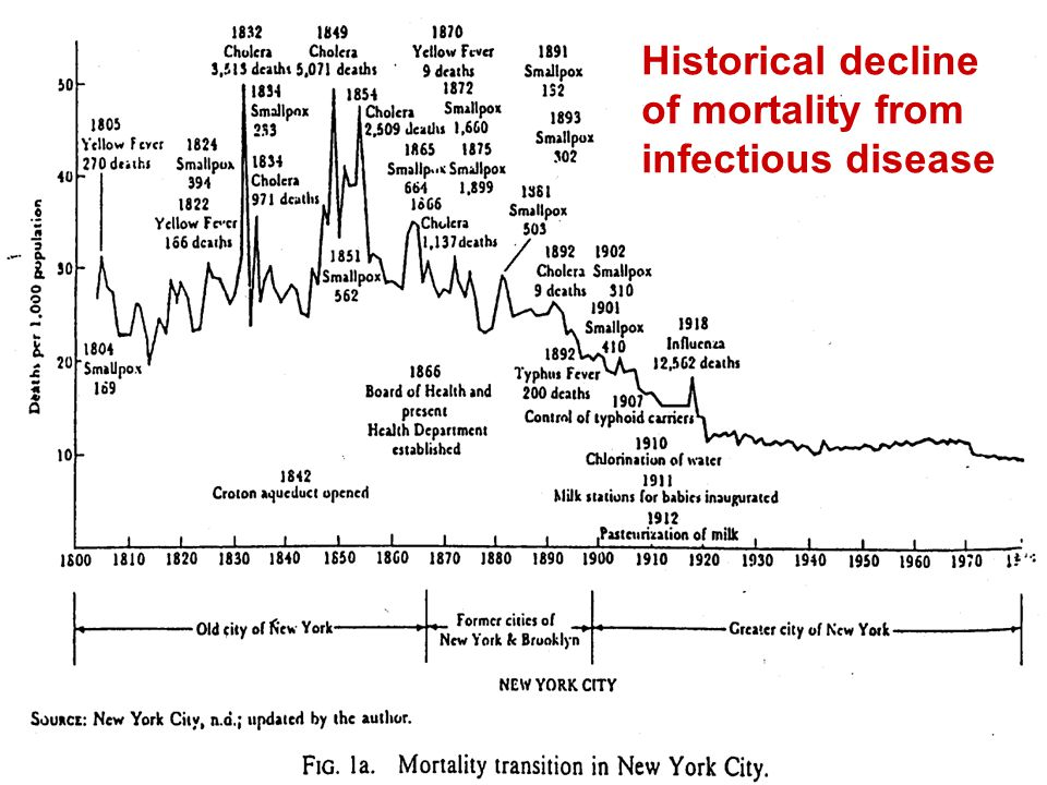 Historical decline of mortality from infectious disease
