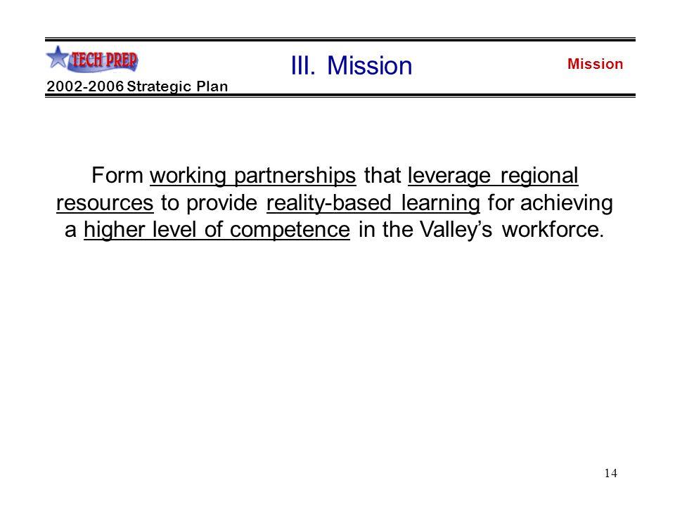 14 Mission 2002-2006 Strategic Plan III.