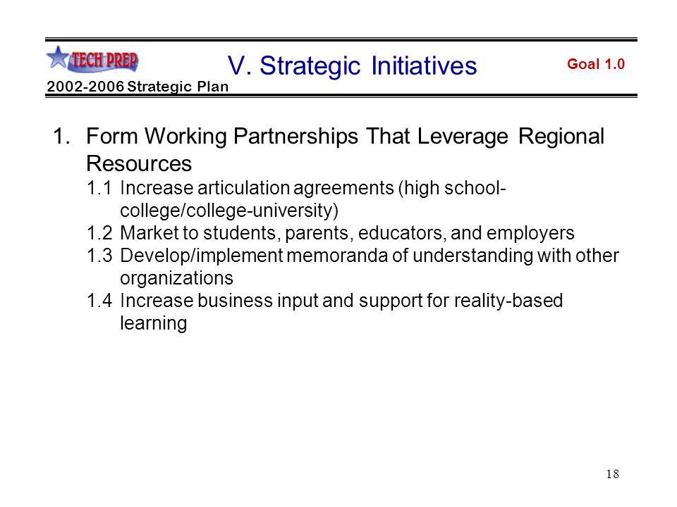 18 Goal 1.0 2002-2006 Strategic Plan V.