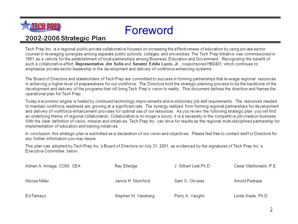 2 2002-2006 Strategic Plan Foreword Tech Prep Inc.