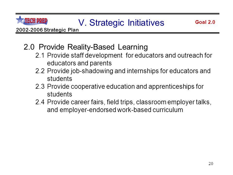 20 Goal 2.0 2002-2006 Strategic Plan V.