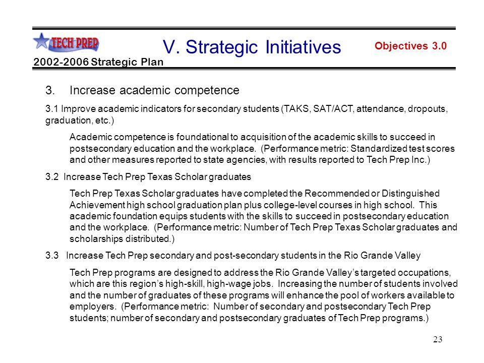 23 Objectives 3.0 2002-2006 Strategic Plan V.