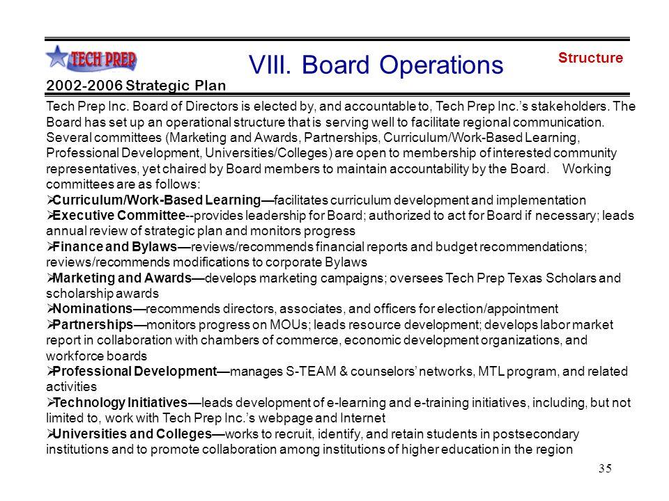 35 2002-2006 Strategic Plan VIII. Board Operations Tech Prep Inc.