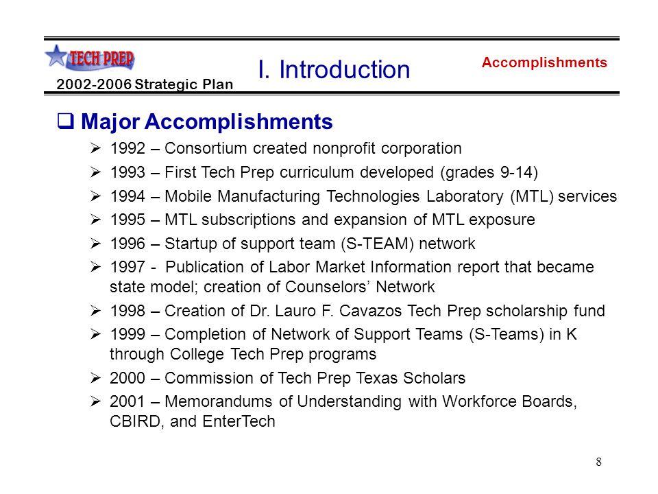 8 Accomplishments 2002-2006 Strategic Plan I.
