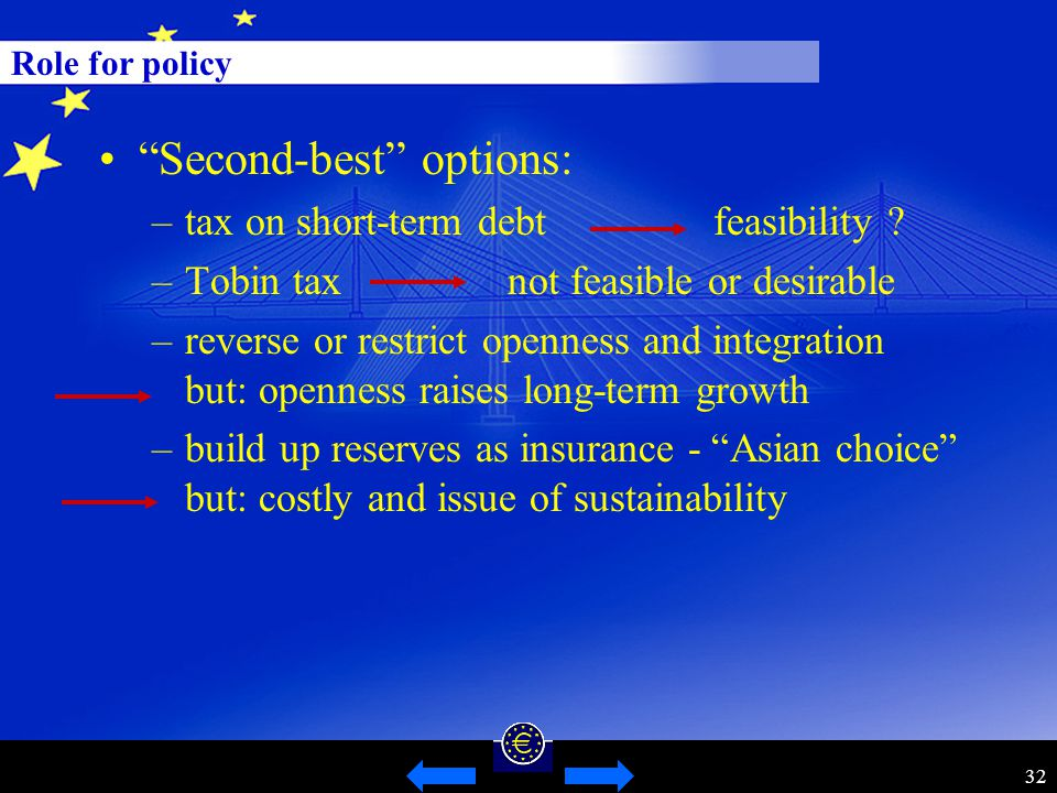 32 Role for policy Second-best options: –tax on short-term debt feasibility .