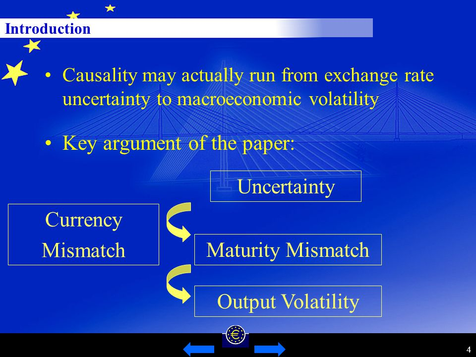 4 Introduction Key argument of the paper: Causality may actually run from exchange rate uncertainty to macroeconomic volatility Uncertainty Currency Mismatch Maturity Mismatch Output Volatility