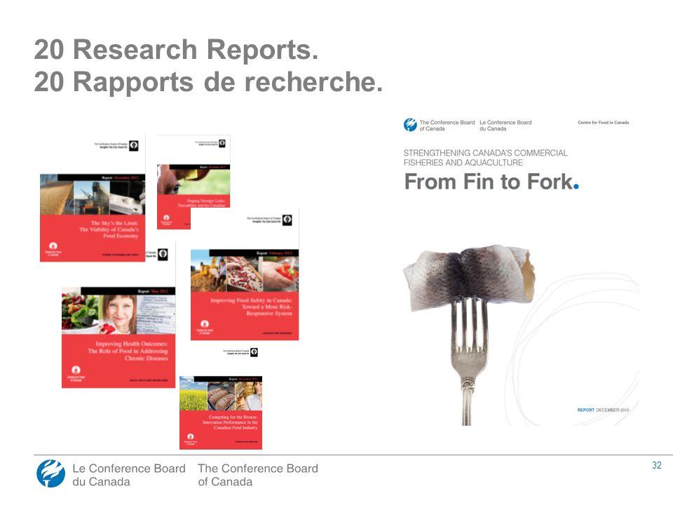 32 20 Research Reports. 20 Rapports de recherche.