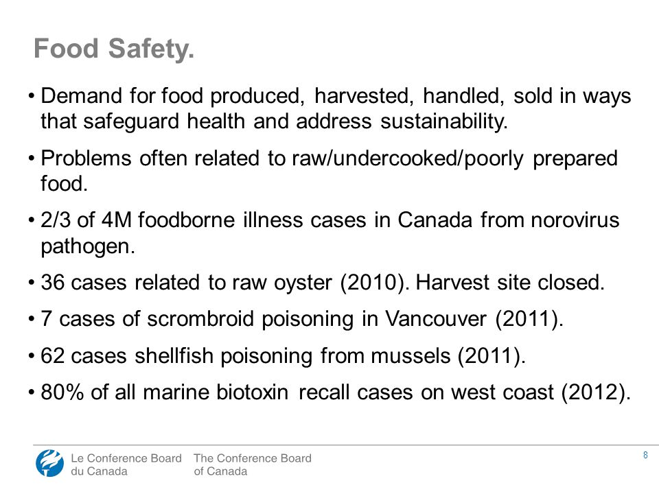 8 Demand for food produced, harvested, handled, sold in ways that safeguard health and address sustainability. Problems often related to raw/undercook