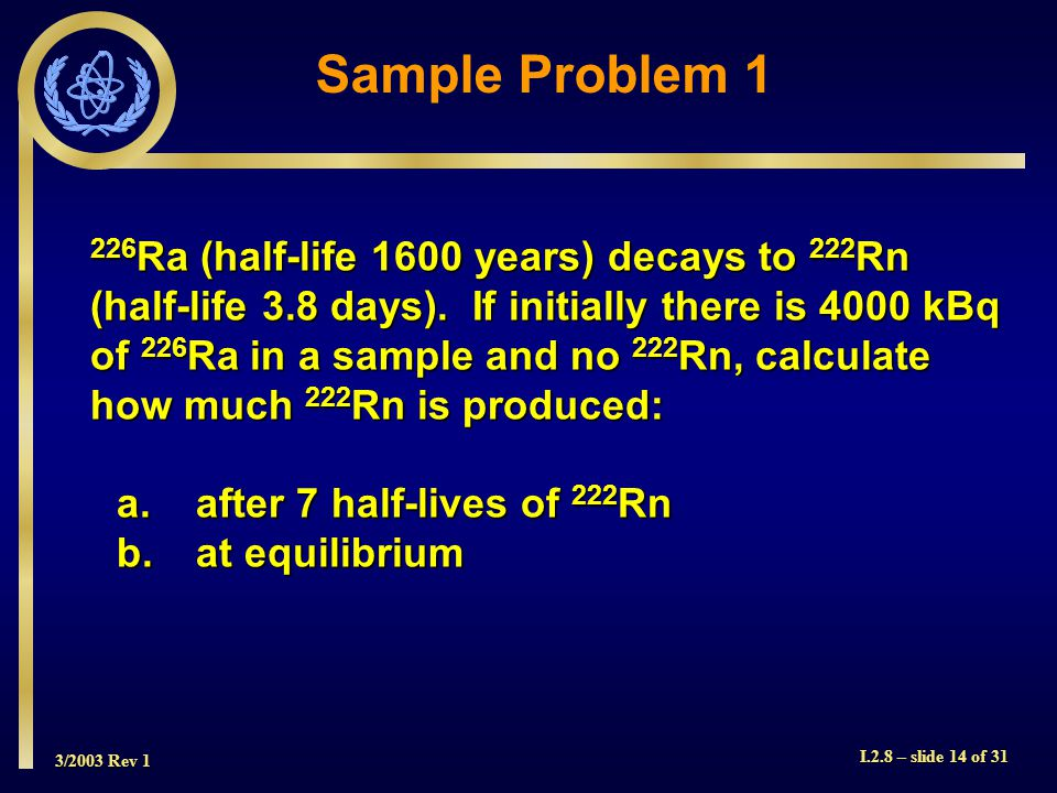 3/2003 Rev 1 I.2.8 – slide 14 of Ra (half-life 1600 years) decays to 222 Rn (half-life 3.8 days).