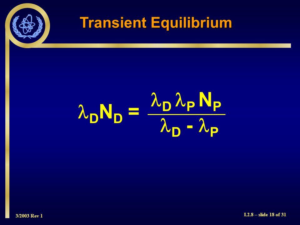 3/2003 Rev 1 I.2.8 – slide 18 of 31 Transient Equilibrium D N D = D - P D P N P