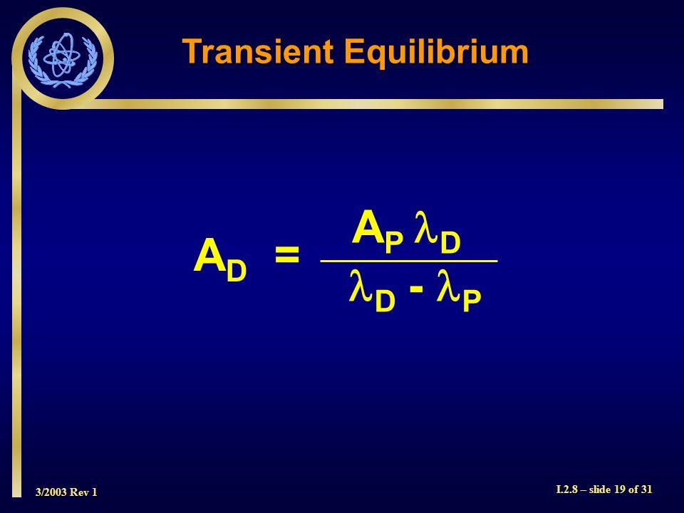 3/2003 Rev 1 I.2.8 – slide 19 of 31 Transient Equilibrium A D = D - P A P D
