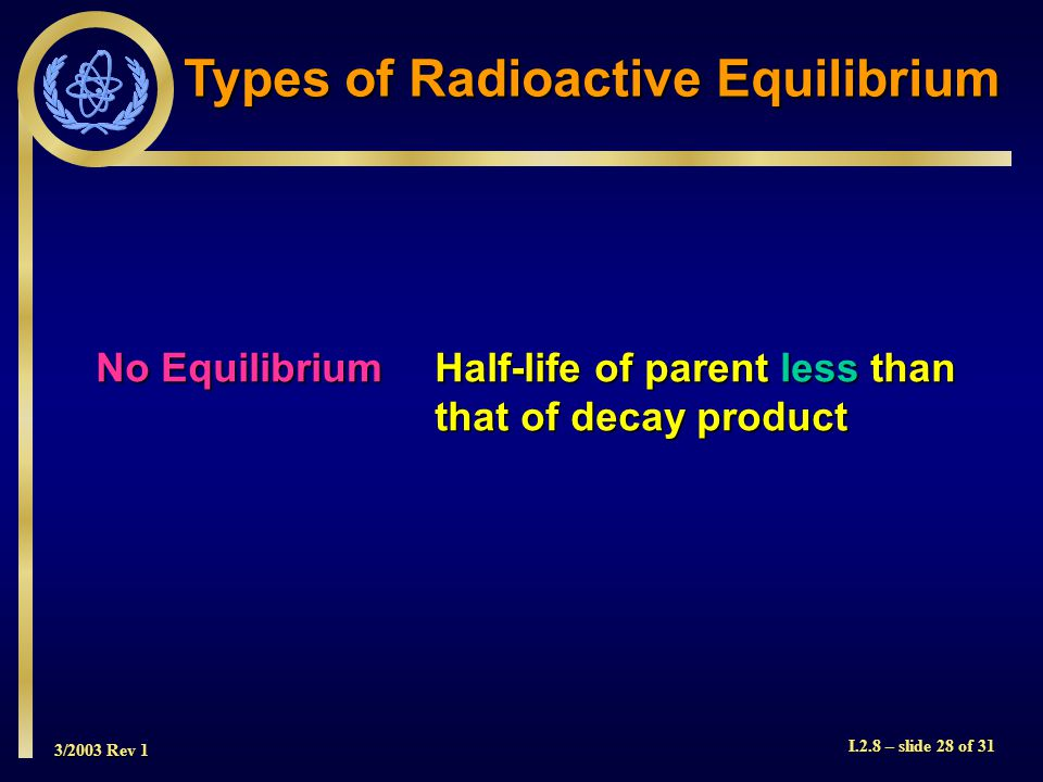 3/2003 Rev 1 I.2.8 – slide 28 of 31 Types of Radioactive Equilibrium No EquilibriumHalf-life of parent less than that of decay product