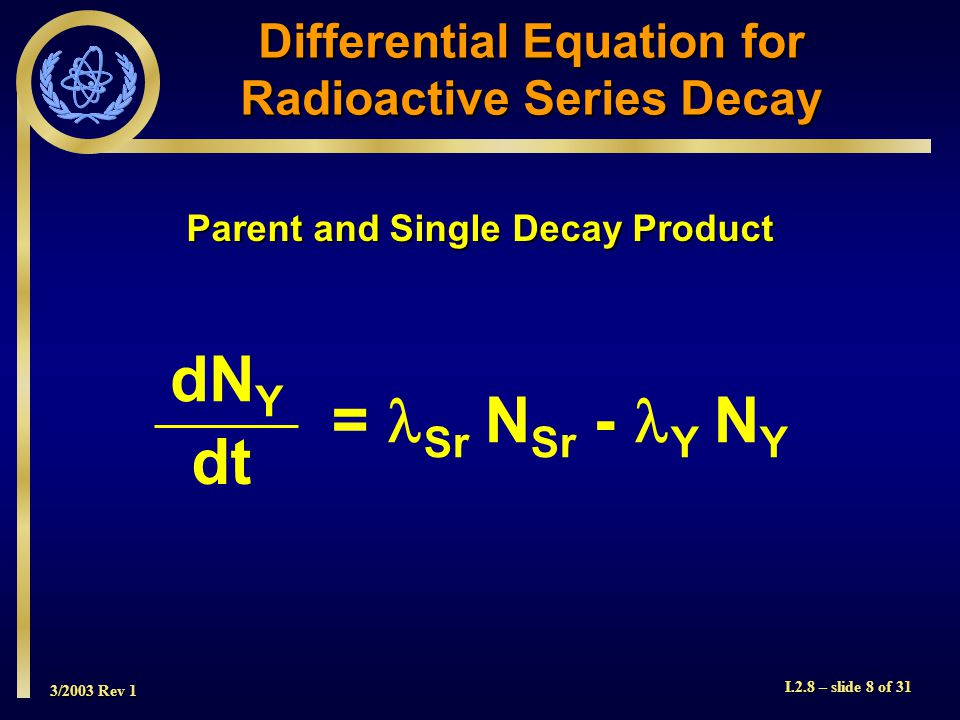 3/2003 Rev 1 I.2.8 – slide 8 of 31 Differential Equation for Radioactive Series Decay = Sr N Sr - Y N Y dN Y dt Parent and Single Decay Product