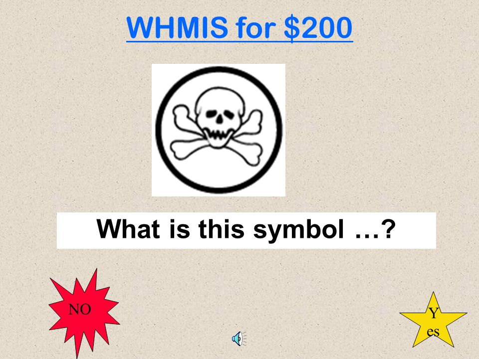 What is this symbol …? WHMIS for $200 Y es NO