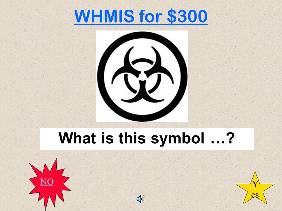 What is this symbol …? WHMIS for $300 Y es NO
