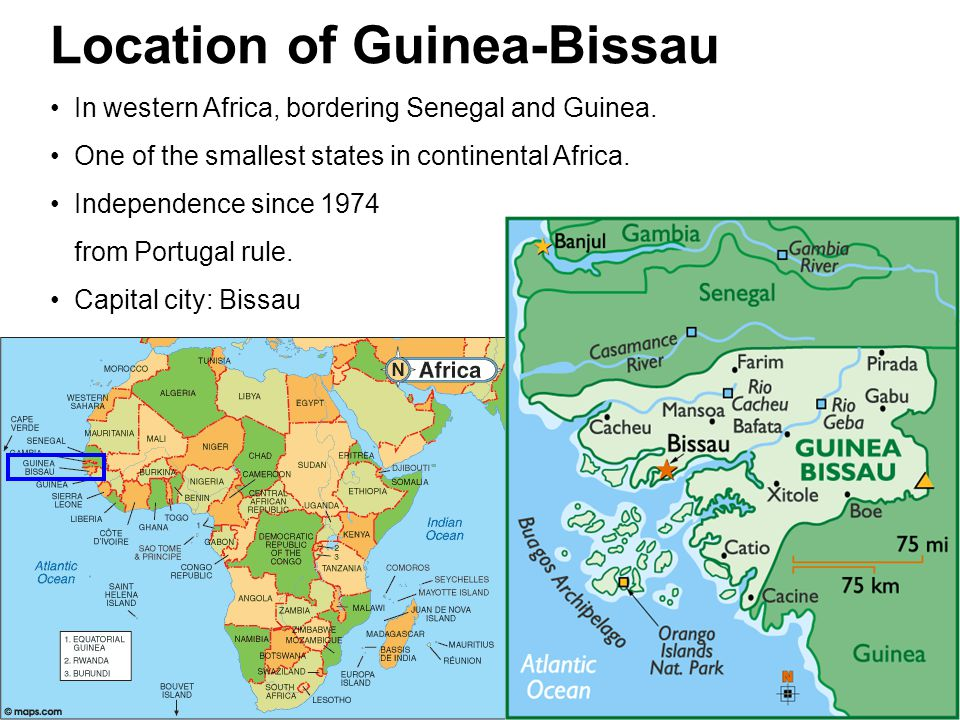 Location of Guinea-Bissau In western Africa, bordering Senegal and Guinea.
