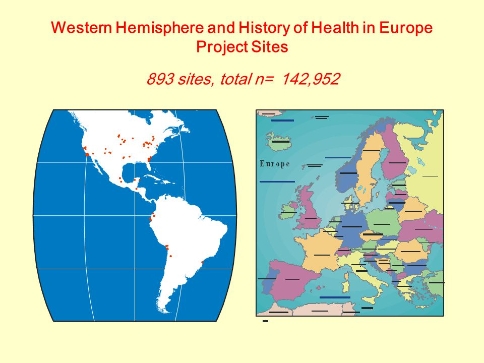 Western Hemisphere and History of Health in Europe Project Sites 893 sites, total n= 142,952