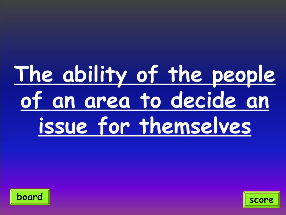 The ability of the people of an area to decide an issue for themselves score board