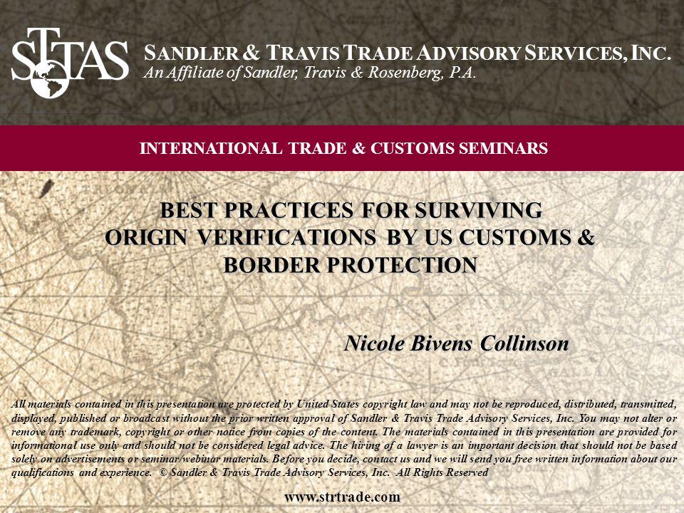 © Sandler & Travis Trade Advisory Services, Inc.