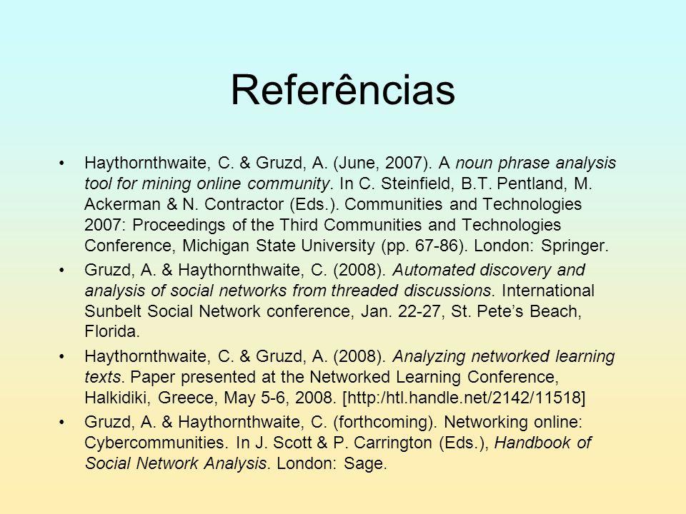 Referências Haythornthwaite, C. & Gruzd, A. (June, 2007).