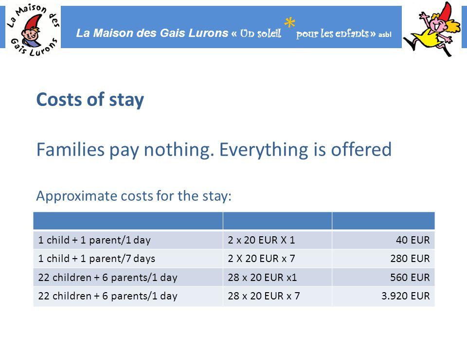 La Maison des Gais Lurons « Un soleil * pour les enfants » asbl Costs of stay Families pay nothing.