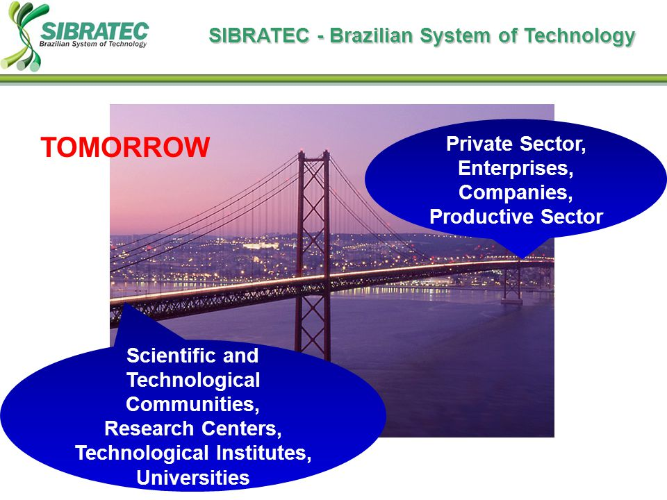 Scientific and Technological Communities, Research Centers, Technological Institutes, Universities Private Sector, Enterprises, Companies, Productive Sector TOMORROW SIBRATEC - Brazilian System of Technology