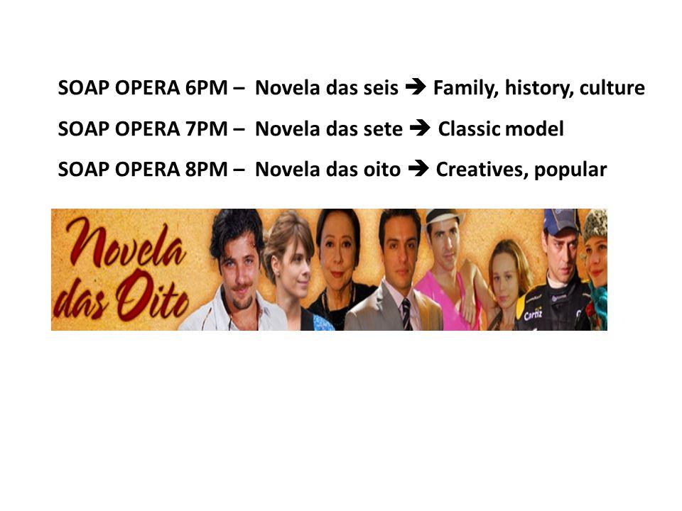 SOAP OPERA 6PM – Novela das seis  Family, history, culture SOAP OPERA 7PM – Novela das sete  Classic model SOAP OPERA 8PM – Novela das oito  Creatives, popular