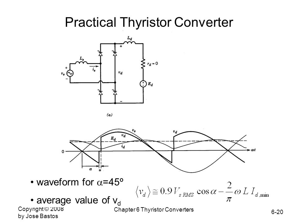6-20 Copyright © 2008 by Jose Bastos Chapter 6 Thyristor Converters waveform for  =45º average value of v d Practical Thyristor Converter