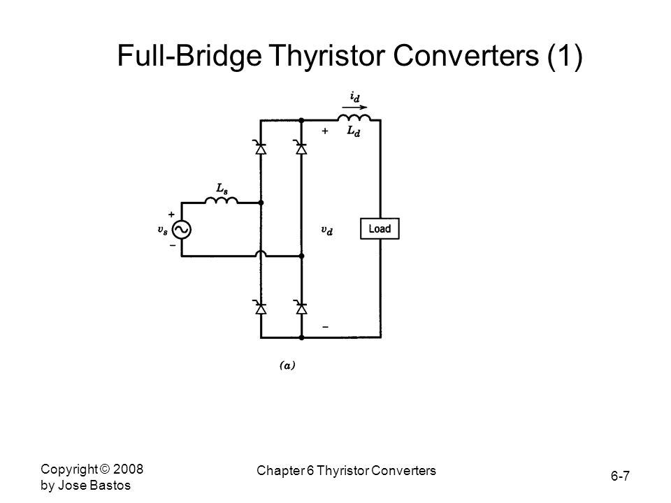 6-7 Copyright © 2008 by Jose Bastos Chapter 6 Thyristor Converters Full-Bridge Thyristor Converters (1)