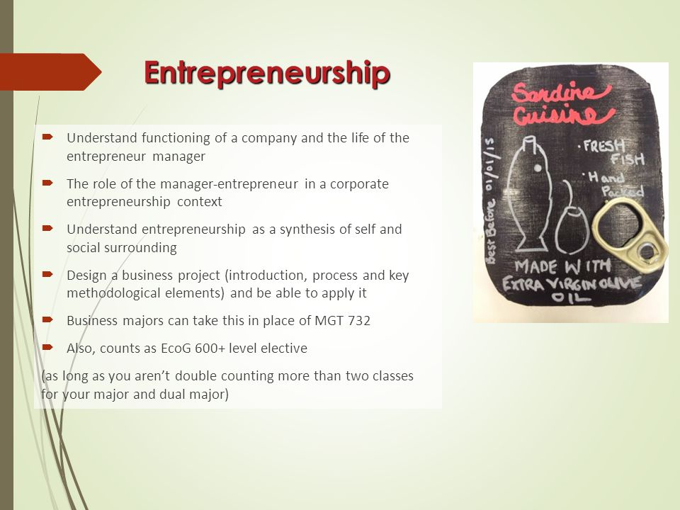 Entrepreneurship  Understand functioning of a company and the life of the entrepreneur manager  The role of the manager-entrepreneur in a corporate entrepreneurship context  Understand entrepreneurship as a synthesis of self and social surrounding  Design a business project (introduction, process and key methodological elements) and be able to apply it  Business majors can take this in place of MGT 732  Also, counts as EcoG 600+ level elective (as long as you aren't double counting more than two classes for your major and dual major)