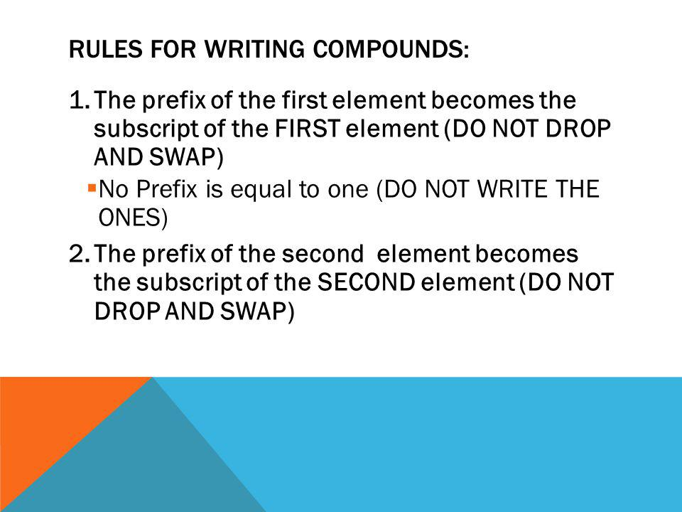 RULES FOR WRITING COMPOUNDS: 1.The prefix of the first element becomes the subscript of the FIRST element (DO NOT DROP AND SWAP)  No Prefix is equal to one (DO NOT WRITE THE ONES) 2.The prefix of the second element becomes the subscript of the SECOND element (DO NOT DROP AND SWAP)