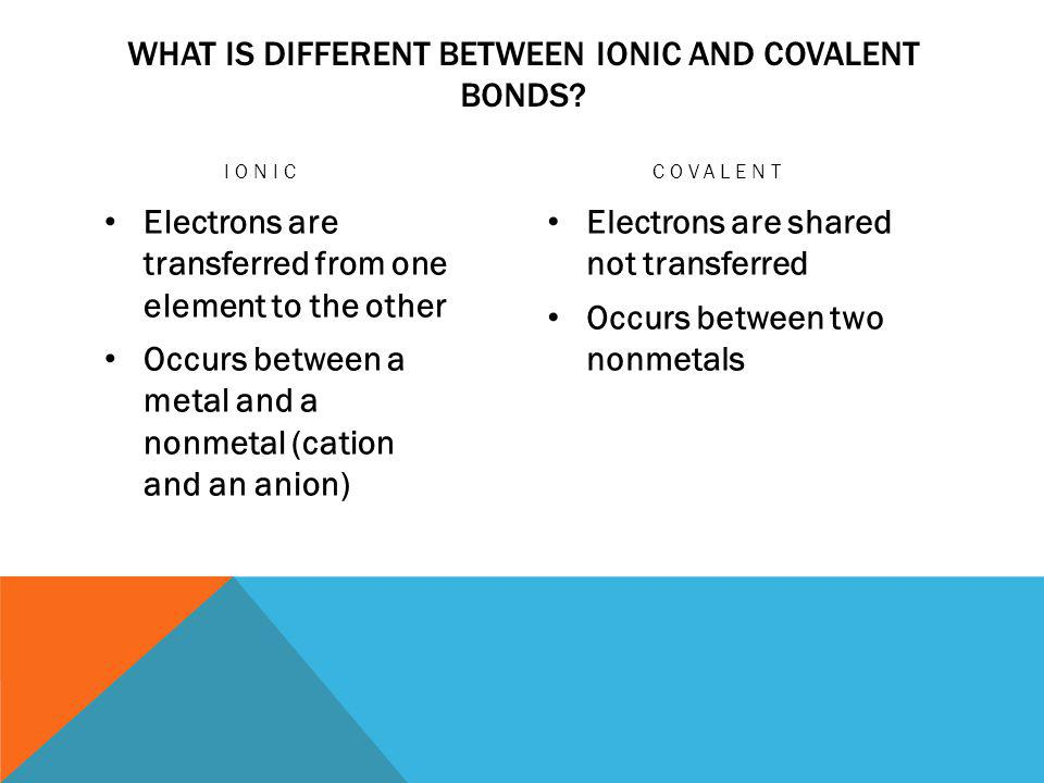 WHAT IS DIFFERENT BETWEEN IONIC AND COVALENT BONDS.