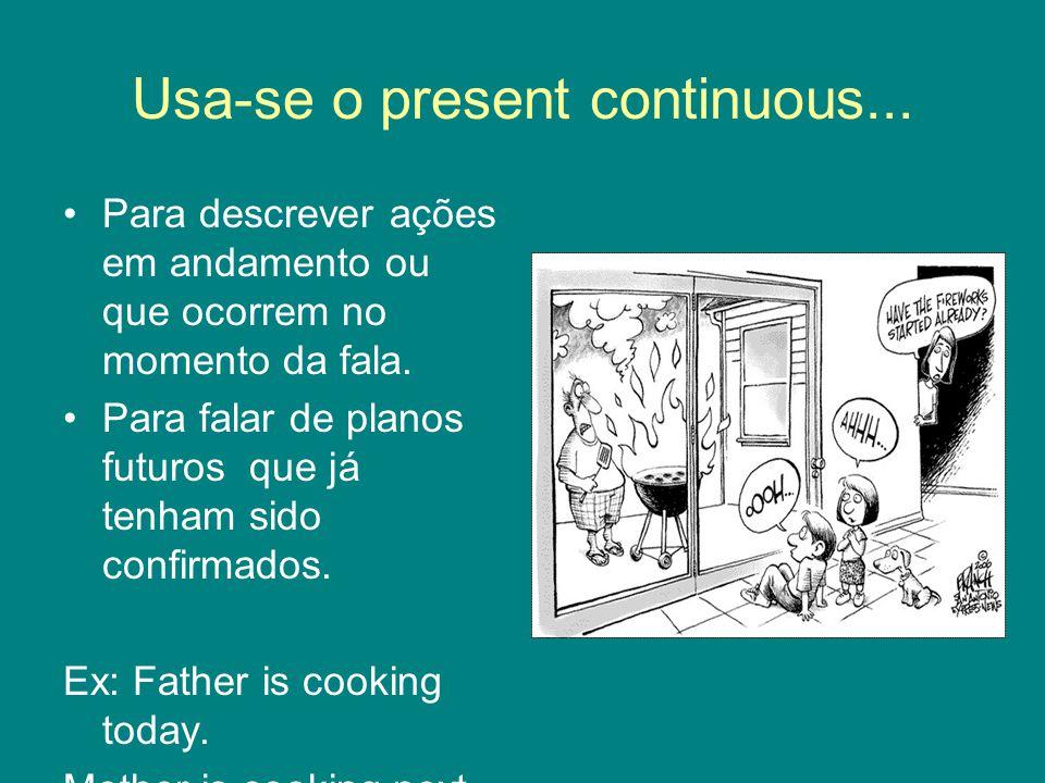 Usa-se o present continuous... Para descrever ações em andamento ou que ocorrem no momento da fala.