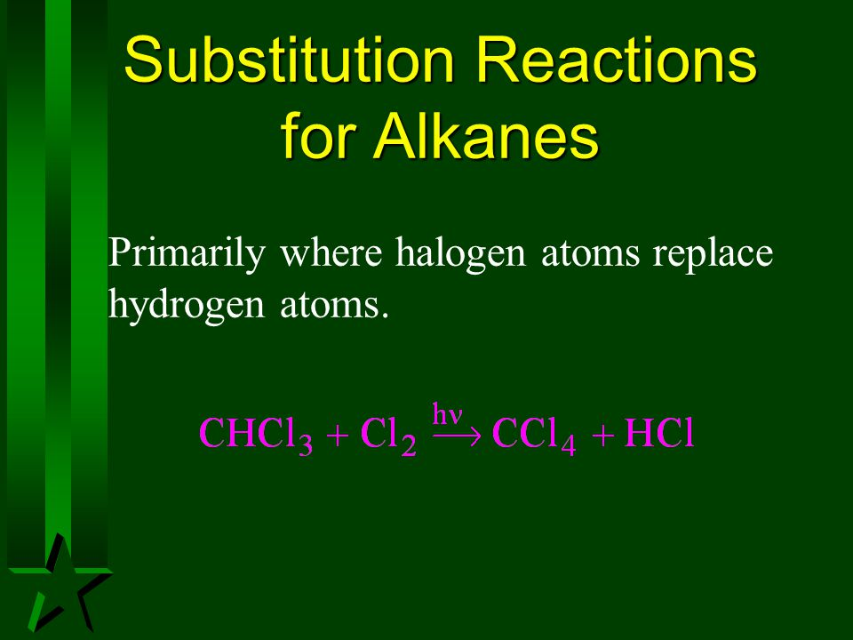 Substitution Reactions for Alkanes Primarily where halogen atoms replace hydrogen atoms.