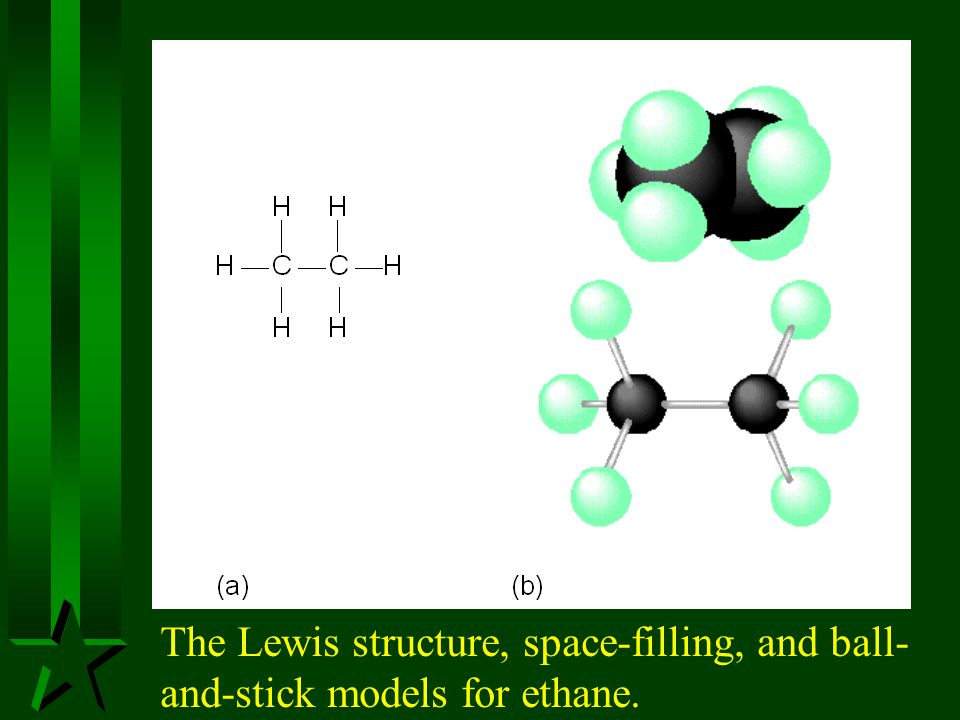 The structures of propane and butane with 109.5 o bond angles.