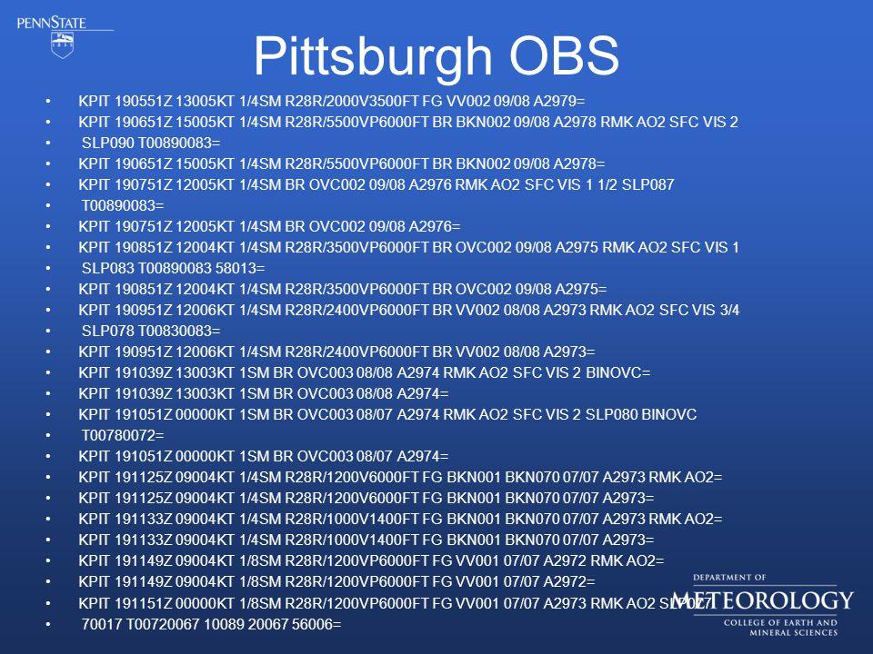 Pittsburgh OBS KPIT 190551Z 13005KT 1/4SM R28R/2000V3500FT FG VV002 09/08 A2979= KPIT 190651Z 15005KT 1/4SM R28R/5500VP6000FT BR BKN002 09/08 A2978 RMK AO2 SFC VIS 2 SLP090 T00890083= KPIT 190651Z 15005KT 1/4SM R28R/5500VP6000FT BR BKN002 09/08 A2978= KPIT 190751Z 12005KT 1/4SM BR OVC002 09/08 A2976 RMK AO2 SFC VIS 1 1/2 SLP087 T00890083= KPIT 190751Z 12005KT 1/4SM BR OVC002 09/08 A2976= KPIT 190851Z 12004KT 1/4SM R28R/3500VP6000FT BR OVC002 09/08 A2975 RMK AO2 SFC VIS 1 SLP083 T00890083 58013= KPIT 190851Z 12004KT 1/4SM R28R/3500VP6000FT BR OVC002 09/08 A2975= KPIT 190951Z 12006KT 1/4SM R28R/2400VP6000FT BR VV002 08/08 A2973 RMK AO2 SFC VIS 3/4 SLP078 T00830083= KPIT 190951Z 12006KT 1/4SM R28R/2400VP6000FT BR VV002 08/08 A2973= KPIT 191039Z 13003KT 1SM BR OVC003 08/08 A2974 RMK AO2 SFC VIS 2 BINOVC= KPIT 191039Z 13003KT 1SM BR OVC003 08/08 A2974= KPIT 191051Z 00000KT 1SM BR OVC003 08/07 A2974 RMK AO2 SFC VIS 2 SLP080 BINOVC T00780072= KPIT 191051Z 00000KT 1SM BR OVC003 08/07 A2974= KPIT 191125Z 09004KT 1/4SM R28R/1200V6000FT FG BKN001 BKN070 07/07 A2973 RMK AO2= KPIT 191125Z 09004KT 1/4SM R28R/1200V6000FT FG BKN001 BKN070 07/07 A2973= KPIT 191133Z 09004KT 1/4SM R28R/1000V1400FT FG BKN001 BKN070 07/07 A2973 RMK AO2= KPIT 191133Z 09004KT 1/4SM R28R/1000V1400FT FG BKN001 BKN070 07/07 A2973= KPIT 191149Z 09004KT 1/8SM R28R/1200VP6000FT FG VV001 07/07 A2972 RMK AO2= KPIT 191149Z 09004KT 1/8SM R28R/1200VP6000FT FG VV001 07/07 A2972= KPIT 191151Z 00000KT 1/8SM R28R/1200VP6000FT FG VV001 07/07 A2973 RMK AO2 SLP077 70017 T00720067 10089 20067 56006=