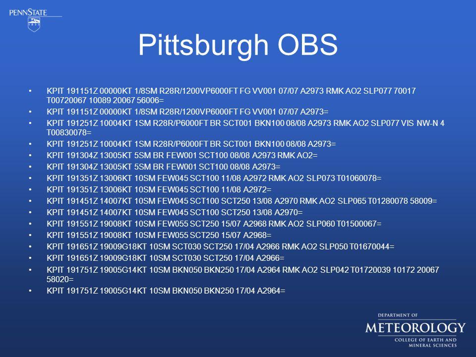 Pittsburgh OBS KPIT 191151Z 00000KT 1/8SM R28R/1200VP6000FT FG VV001 07/07 A2973 RMK AO2 SLP077 70017 T00720067 10089 20067 56006= KPIT 191151Z 00000KT 1/8SM R28R/1200VP6000FT FG VV001 07/07 A2973= KPIT 191251Z 10004KT 1SM R28R/P6000FT BR SCT001 BKN100 08/08 A2973 RMK AO2 SLP077 VIS NW-N 4 T00830078= KPIT 191251Z 10004KT 1SM R28R/P6000FT BR SCT001 BKN100 08/08 A2973= KPIT 191304Z 13005KT 5SM BR FEW001 SCT100 08/08 A2973 RMK AO2= KPIT 191304Z 13005KT 5SM BR FEW001 SCT100 08/08 A2973= KPIT 191351Z 13006KT 10SM FEW045 SCT100 11/08 A2972 RMK AO2 SLP073 T01060078= KPIT 191351Z 13006KT 10SM FEW045 SCT100 11/08 A2972= KPIT 191451Z 14007KT 10SM FEW045 SCT100 SCT250 13/08 A2970 RMK AO2 SLP065 T01280078 58009= KPIT 191451Z 14007KT 10SM FEW045 SCT100 SCT250 13/08 A2970= KPIT 191551Z 19008KT 10SM FEW055 SCT250 15/07 A2968 RMK AO2 SLP060 T01500067= KPIT 191551Z 19008KT 10SM FEW055 SCT250 15/07 A2968= KPIT 191651Z 19009G18KT 10SM SCT030 SCT250 17/04 A2966 RMK AO2 SLP050 T01670044= KPIT 191651Z 19009G18KT 10SM SCT030 SCT250 17/04 A2966= KPIT 191751Z 19005G14KT 10SM BKN050 BKN250 17/04 A2964 RMK AO2 SLP042 T01720039 10172 20067 58020= KPIT 191751Z 19005G14KT 10SM BKN050 BKN250 17/04 A2964=