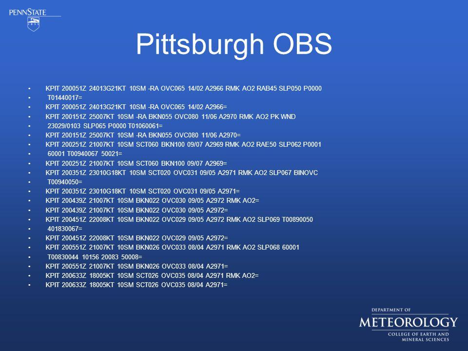 Pittsburgh OBS KPIT 200051Z 24013G21KT 10SM -RA OVC065 14/02 A2966 RMK AO2 RAB45 SLP050 P0000 T01440017= KPIT 200051Z 24013G21KT 10SM -RA OVC065 14/02 A2966= KPIT 200151Z 25007KT 10SM -RA BKN055 OVC080 11/06 A2970 RMK AO2 PK WND 23029/0103 SLP065 P0000 T01060061= KPIT 200151Z 25007KT 10SM -RA BKN055 OVC080 11/06 A2970= KPIT 200251Z 21007KT 10SM SCT060 BKN100 09/07 A2969 RMK AO2 RAE50 SLP062 P0001 60001 T00940067 50021= KPIT 200251Z 21007KT 10SM SCT060 BKN100 09/07 A2969= KPIT 200351Z 23010G18KT 10SM SCT020 OVC031 09/05 A2971 RMK AO2 SLP067 BINOVC T00940050= KPIT 200351Z 23010G18KT 10SM SCT020 OVC031 09/05 A2971= KPIT 200439Z 21007KT 10SM BKN022 OVC030 09/05 A2972 RMK AO2= KPIT 200439Z 21007KT 10SM BKN022 OVC030 09/05 A2972= KPIT 200451Z 22008KT 10SM BKN022 OVC029 09/05 A2972 RMK AO2 SLP069 T00890050 401830067= KPIT 200451Z 22008KT 10SM BKN022 OVC029 09/05 A2972= KPIT 200551Z 21007KT 10SM BKN026 OVC033 08/04 A2971 RMK AO2 SLP068 60001 T00830044 10156 20083 50008= KPIT 200551Z 21007KT 10SM BKN026 OVC033 08/04 A2971= KPIT 200633Z 18005KT 10SM SCT026 OVC035 08/04 A2971 RMK AO2= KPIT 200633Z 18005KT 10SM SCT026 OVC035 08/04 A2971=