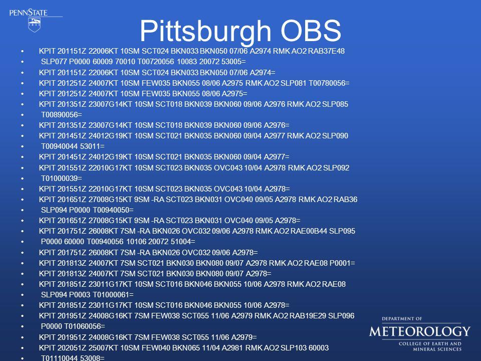 Pittsburgh OBS KPIT 201151Z 22006KT 10SM SCT024 BKN033 BKN050 07/06 A2974 RMK AO2 RAB37E48 SLP077 P0000 60009 70010 T00720056 10083 20072 53005= KPIT 201151Z 22006KT 10SM SCT024 BKN033 BKN050 07/06 A2974= KPIT 201251Z 24007KT 10SM FEW035 BKN055 08/06 A2975 RMK AO2 SLP081 T00780056= KPIT 201251Z 24007KT 10SM FEW035 BKN055 08/06 A2975= KPIT 201351Z 23007G14KT 10SM SCT018 BKN039 BKN060 09/06 A2976 RMK AO2 SLP085 T00890056= KPIT 201351Z 23007G14KT 10SM SCT018 BKN039 BKN060 09/06 A2976= KPIT 201451Z 24012G19KT 10SM SCT021 BKN035 BKN060 09/04 A2977 RMK AO2 SLP090 T00940044 53011= KPIT 201451Z 24012G19KT 10SM SCT021 BKN035 BKN060 09/04 A2977= KPIT 201551Z 22010G17KT 10SM SCT023 BKN035 OVC043 10/04 A2978 RMK AO2 SLP092 T01000039= KPIT 201551Z 22010G17KT 10SM SCT023 BKN035 OVC043 10/04 A2978= KPIT 201651Z 27008G15KT 9SM -RA SCT023 BKN031 OVC040 09/05 A2978 RMK AO2 RAB36 SLP094 P0000 T00940050= KPIT 201651Z 27008G15KT 9SM -RA SCT023 BKN031 OVC040 09/05 A2978= KPIT 201751Z 26008KT 7SM -RA BKN026 OVC032 09/06 A2978 RMK AO2 RAE00B44 SLP095 P0000 60000 T00940056 10106 20072 51004= KPIT 201751Z 26008KT 7SM -RA BKN026 OVC032 09/06 A2978= KPIT 201813Z 24007KT 7SM SCT021 BKN030 BKN080 09/07 A2978 RMK AO2 RAE08 P0001= KPIT 201813Z 24007KT 7SM SCT021 BKN030 BKN080 09/07 A2978= KPIT 201851Z 23011G17KT 10SM SCT016 BKN046 BKN055 10/06 A2978 RMK AO2 RAE08 SLP094 P0003 T01000061= KPIT 201851Z 23011G17KT 10SM SCT016 BKN046 BKN055 10/06 A2978= KPIT 201951Z 24008G16KT 7SM FEW038 SCT055 11/06 A2979 RMK AO2 RAB19E29 SLP096 P0000 T01060056= KPIT 201951Z 24008G16KT 7SM FEW038 SCT055 11/06 A2979= KPIT 202051Z 25007KT 10SM FEW040 BKN065 11/04 A2981 RMK AO2 SLP103 60003 T01110044 53008=