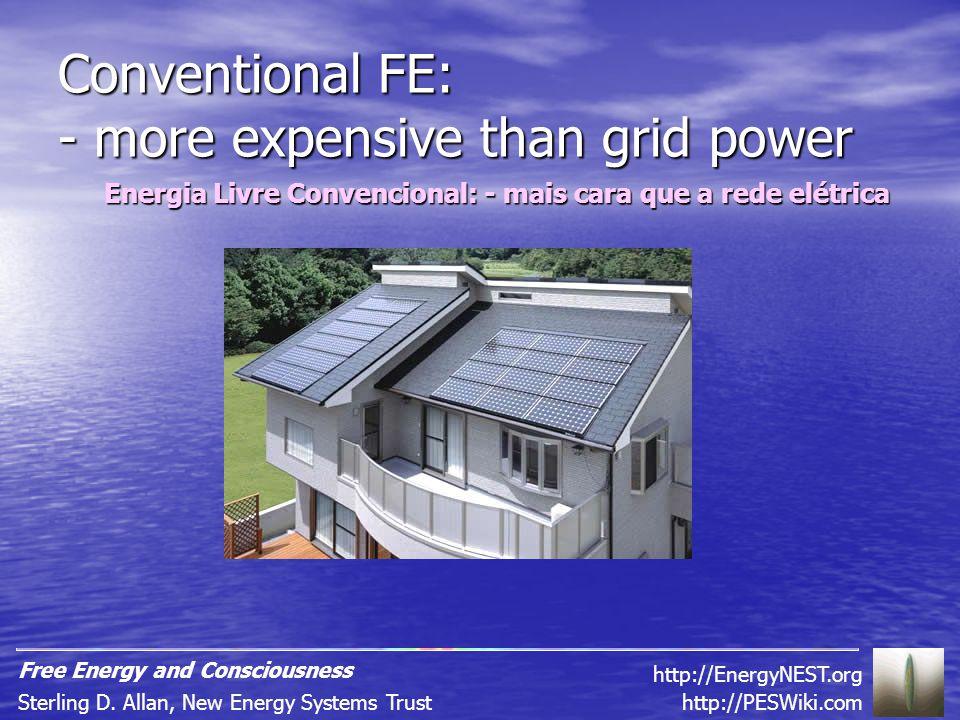 Conventional FE: - more expensive than grid power Energia Livre Convencional: - mais cara que a rede elétrica http://PESWiki.comSterling D.