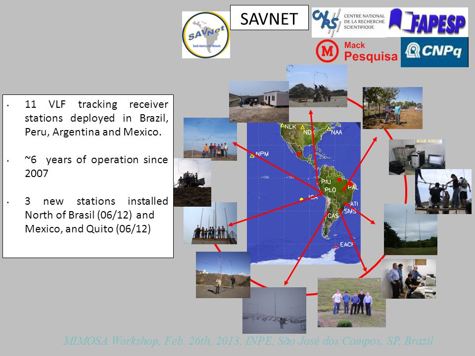 SAVNET 11 VLF tracking receiver stations deployed in Brazil, Peru, Argentina and Mexico.