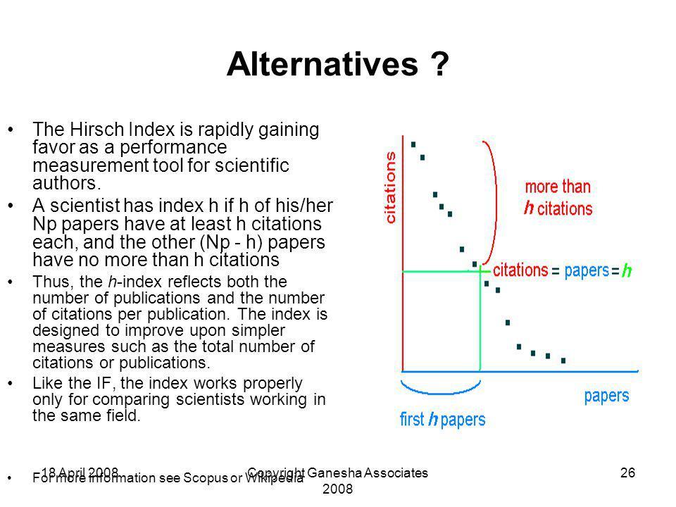 18 April 2008Copyright Ganesha Associates 2008 26 Alternatives ? The Hirsch Index is rapidly gaining favor as a performance measurement tool for scien
