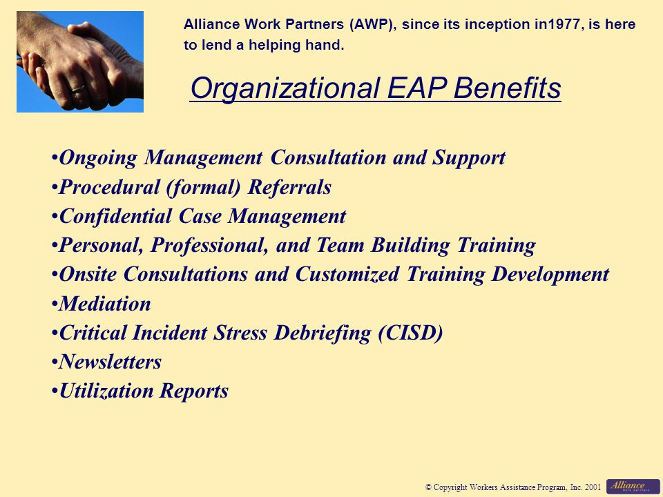© Copyright Workers Assistance Program, Inc.2001 Is a referral to the EAP appropriate.