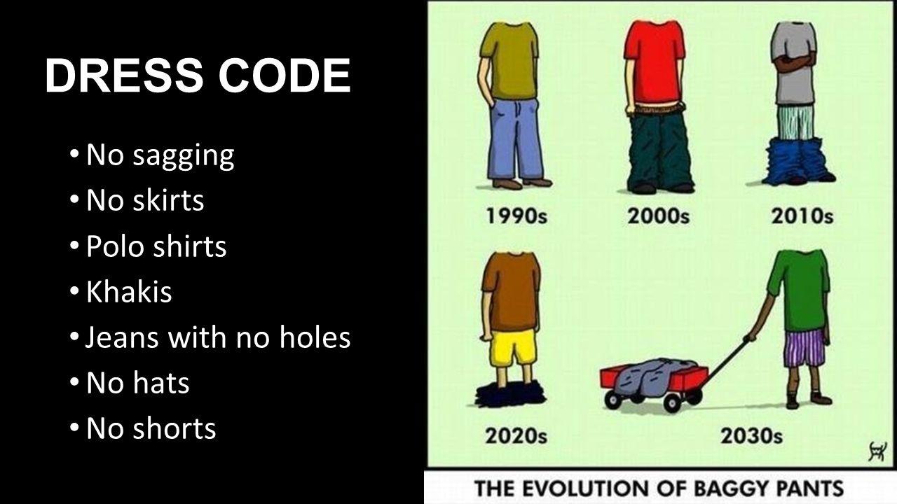 DRESS CODE No sagging No skirts Polo shirts Khakis Jeans with no holes No hats No shorts HANDOUT PICTURE