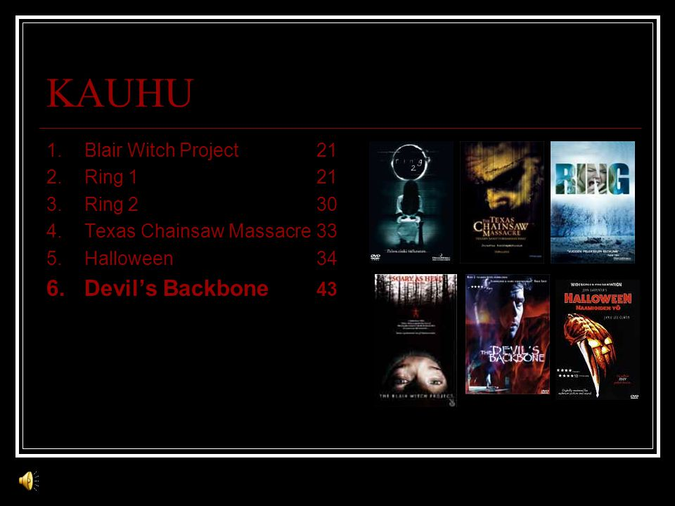 KAUHU 1.Blair Witch Project21 2.Ring 121 3.Ring 230 4.Texas Chainsaw Massacre33 5.Halloween34 6.Devil's Backbone 43