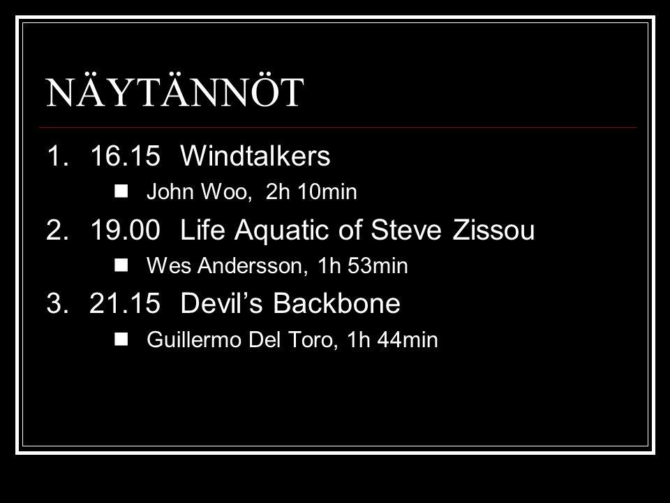 NÄYTÄNNÖT 1.16.15Windtalkers John Woo, 2h 10min 2.19.00Life Aquatic of Steve Zissou Wes Andersson, 1h 53min 3.21.15Devil's Backbone Guillermo Del Toro, 1h 44min