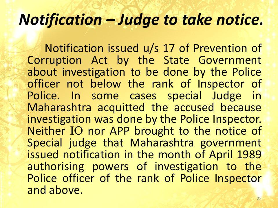 Notification – Judge to take notice.