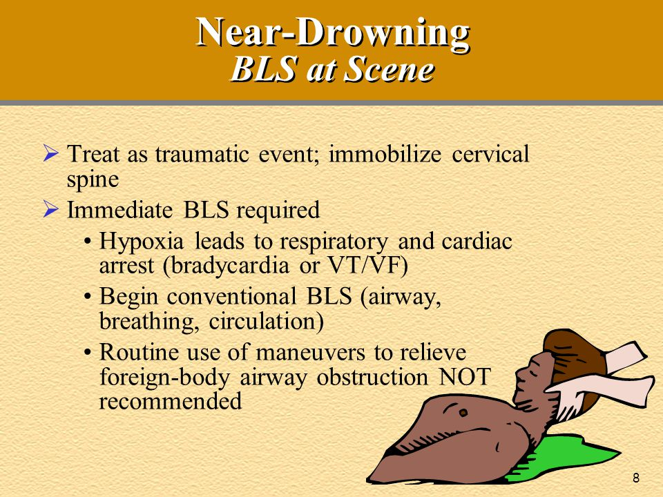 9 Near-Drowning Victim On Medic Arrival  Call-to-scene interval: 8 minutes  On Fire arrival: victim out of water; unresponsive, apneic, and pulseless  CPR is producing chest rise, good pulse What should ACLS providers do first?