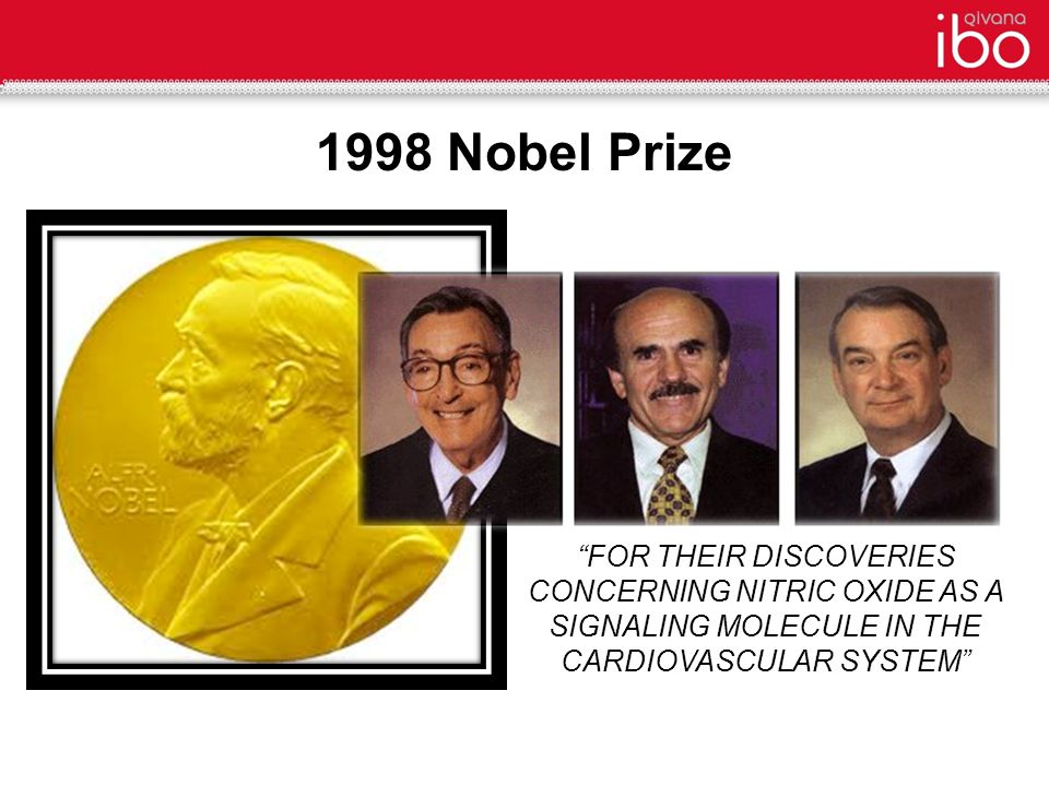 FOR THEIR DISCOVERIES CONCERNING NITRIC OXIDE AS A SIGNALING MOLECULE IN THE CARDIOVASCULAR SYSTEM 1998 Nobel Prize